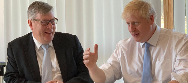 Roger Hirst and Boris Johnson